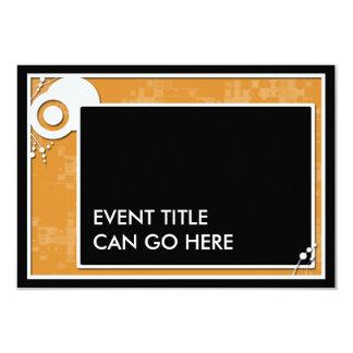 orange block scheme 9 cm x 13 cm invitation card