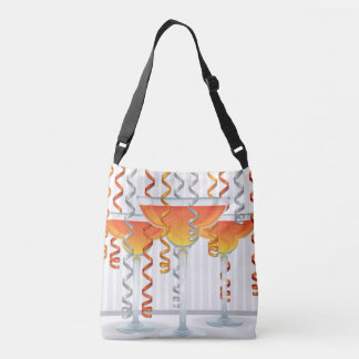 Orange  cocktail and ribbon tote bag