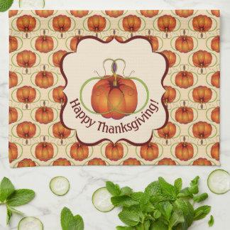 Orange Curvy Pumpkin Autumn Pattern Kitchen Towel