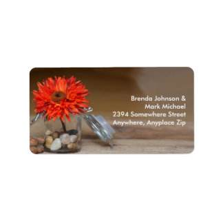 Orange Flower in Glass Jar Address Labels