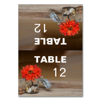 Orange Flower in Glass Jar Folded Table Card