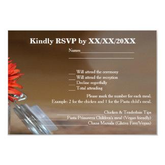Orange Flower in Glass Jar RSVP & Menu Flat Card 9 Cm X 13 Cm Invitation Card