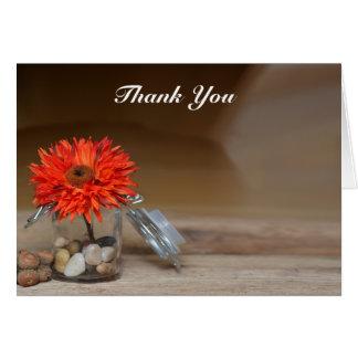 Orange Flower in Glass Jar Thank You Greeting Card