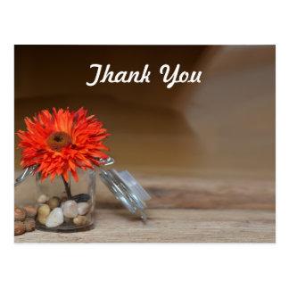 Orange Flower in Glass Jar Thank You Postcard