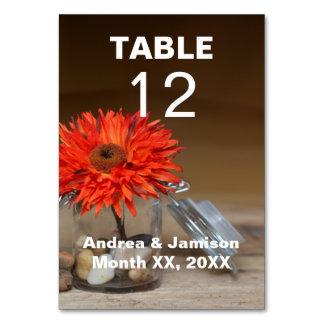 Orange Flower in Glass Jar Wedding Table Card