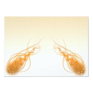 orange fractals 13 cm x 18 cm invitation card