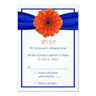 Orange Gerbera Daisy Blue Wedding Reply Card 9 Cm X 13 Cm Invitation Card