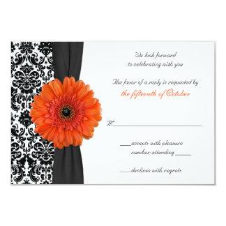 Orange Gerbera Daisy Damask Wedding Reply Card 9 Cm X 13 Cm Invitation Card