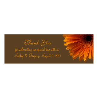Orange Gerbera Daisy Wedding Favor Tag Pack Of Skinny Business Cards