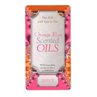 Orange Pink Favors Essential Oil Bottle Labels