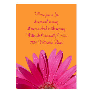 Orange & Pink Gerbera Daisy Reception Card Pack Of Chubby Business Cards