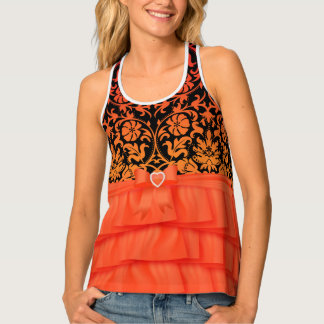 Orange Ruffles and Black & Orange Damask Tank Top