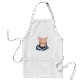 Orange Tabby Cat Apron Funny Ginger Cat in Hoodie