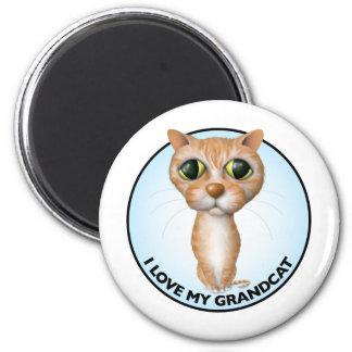 Orange Tabby Cat - I Love My Grandcat 6 Cm Round Magnet