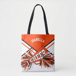 Orange, White & Black Cheerleader Design Tote Bag
