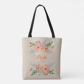 Orange & Yellow Hand Drawn Flowers, Bride Tote Bag
