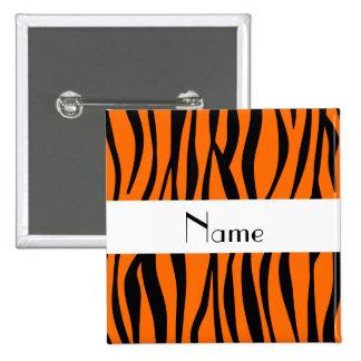 Orange zebra stripes white stripe 15 cm square badge