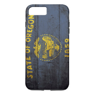 Oregon State Flag on Old Wood Grain iPhone 7 Plus Case