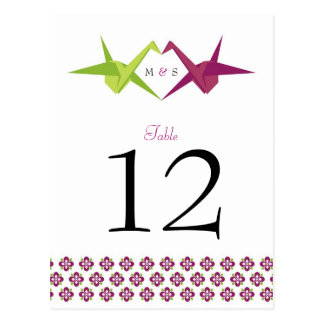 Origami Cranes Wedding Table Number Postcard