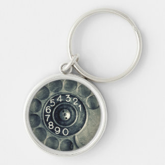 original rotary phone Silver-Colored round key ring