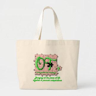 ot puzzle pink and green jumbo tote bag