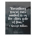 """""""Other Side of Fear"""" Cursive Quote Poster"""