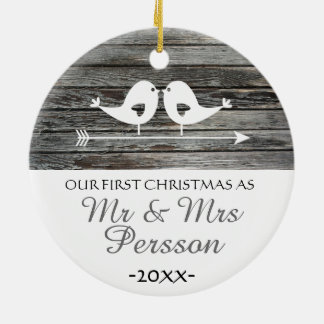 Our first Christmas ornament - love birds - rustic