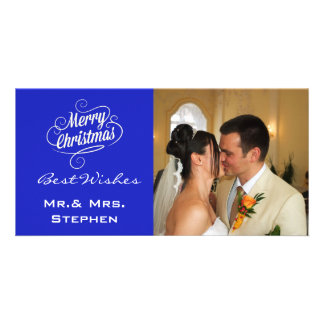 Our First Christmas Wedding Photo Cards,Blue Personalised Photo Card