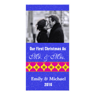 Our First Christmas Wedding Photo Cards, Blue Photo Greeting Card