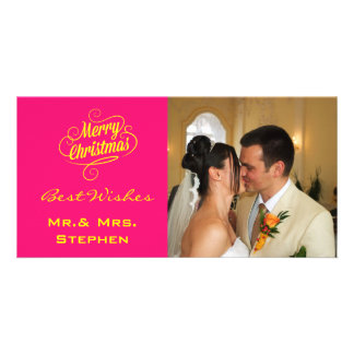Our First Christmas Wedding Photo Cards, Pink Custom Photo Card