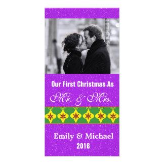 Our First Christmas Wedding Photo Cards, Purple Custom Photo Card