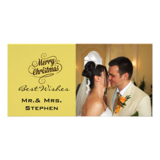 Our First Christmas Wedding Photo Cards, Yellow Photo Greeting Card