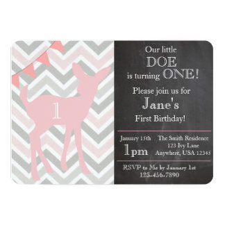 Our Little Doe is Turning ONE! Birthday Invitation