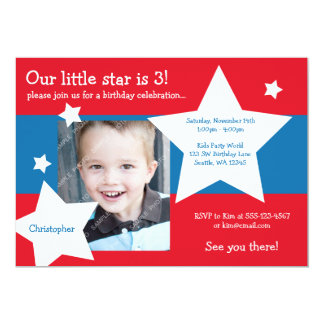 Our Little Star Red, White, and Blue Boy Birthday 13 Cm X 18 Cm Invitation Card