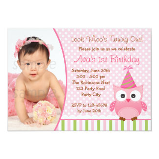 Owl 1st Birthday Invitation with Photo for Girls