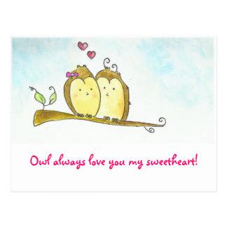 Owl always love you Valentine Postcard