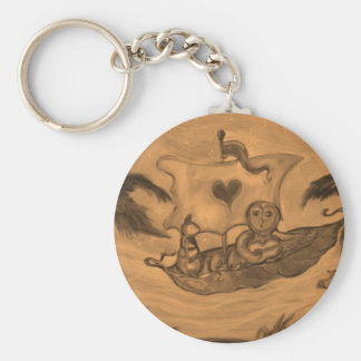 Owl and Pussy Cat boat Ride Basic Round Button Key Ring