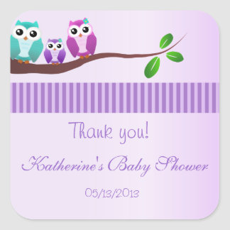 Owl Baby Shower Sticker Lilac