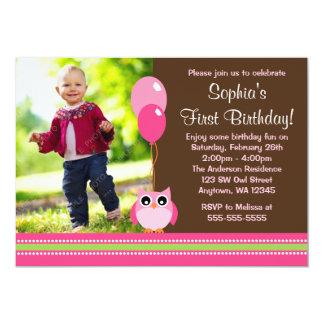 Owl Balloons Brown Pink Photo Birthday 13 Cm X 18 Cm Invitation Card
