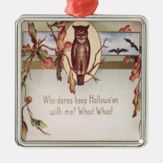 Owl Bat Autumn Fall Color Leaves Leaf Silver-Colored Square Decoration