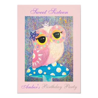 Owl Fairy Princess Sweet Sixteen Birthday Party 13 Cm X 18 Cm Invitation Card