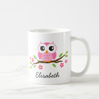 Owl on branch with pink flowers personalized name basic white mug