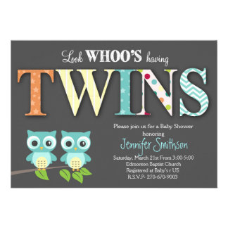 Owl TWINS Baby Shower - Look Whoo's Having a Baby 13 Cm X 18 Cm Invitation Card