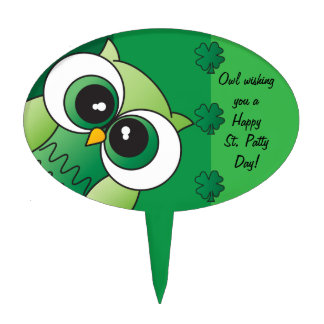 Owl Wishing you a Happy St. Patty's Day Cake Picks