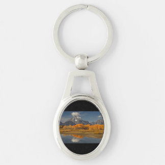 oxbow bend in fall colors Silver-Colored oval key ring