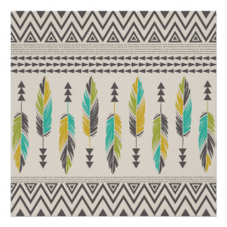 Painted Feathers-Cream Poster