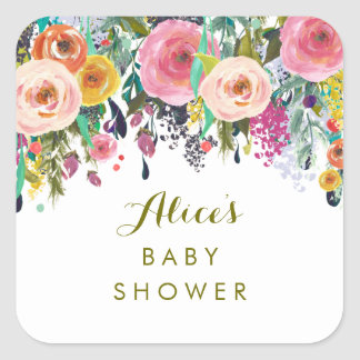 Painted Floral Garden Baby Shower Stickers