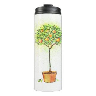 Painted watercolor citrus tree in pot thermal tumbler