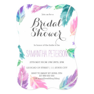 Painted watercolor feathers bridal shower 13 cm x 18 cm invitation card