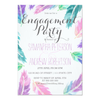 Painted watercolor feathers engagement party 13 cm x 18 cm invitation card